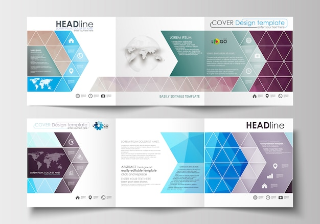 Conjunto de modelos de negócios para folhetos dobráveis em três partes