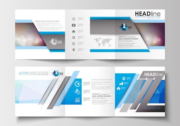 Conjunto de modelos de negócios para folhetos dobrável em três partes. poligonal colorido.