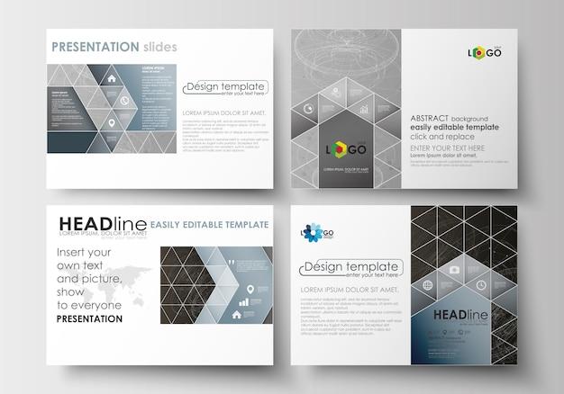 Conjunto de modelos de negócios para slides de apresentação. construção 3d abstrata e poligonal