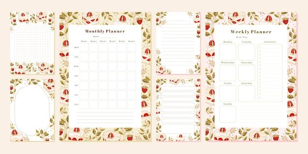 Conjunto de modelos de notas de planejador semanais mensais com elementos florais e de morango de bolo desenhado à mão