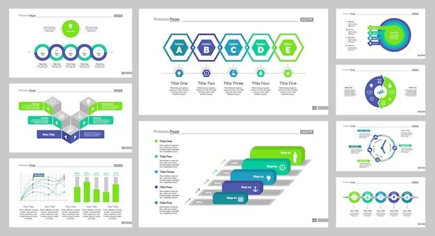 Conjunto de modelos de nove setas de negócios