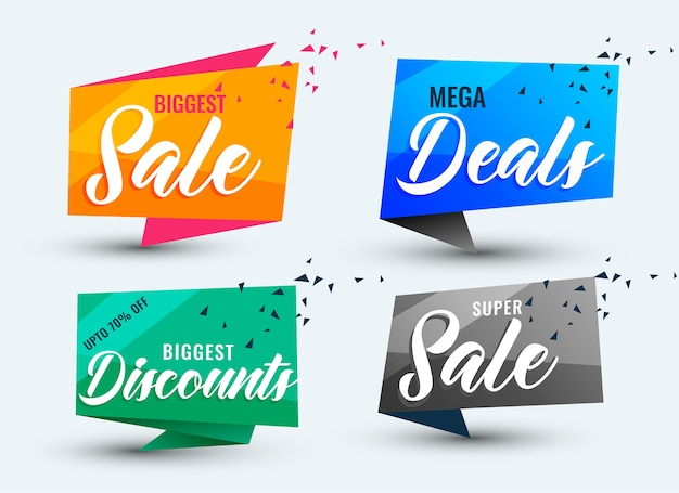Conjunto de modelos de ofertas de venda e banners de desconto