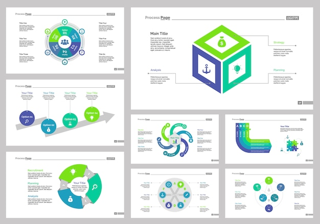 Conjunto de modelos de oito setas de marketing