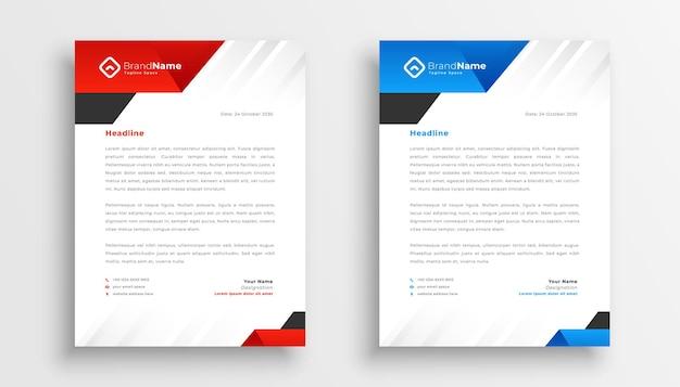 Conjunto de modelos de pacote de papel timbrado empresarial moderno de dois