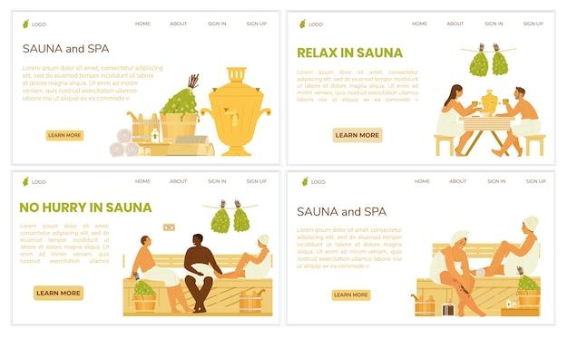 Conjunto de modelos de página da web de sauna e spa. ilustrações de pessoas na sauna, bebendo chá de samovar, relaxando. acessórios para sauna. design plano.