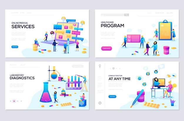 Conjunto de modelos de página da web. desenvolvimento de sites de banners e sites para celular