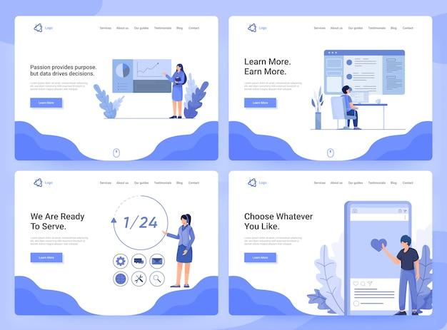 Conjunto de modelos de página da web plana de aplicativos de negócios, pesquisa e desenvolvimento, atendimento ao cliente