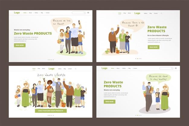 Conjunto de modelos de página de aterrissagem de pessoas felizes e alegres, segurando zero resíduos em mãos - bolsas, produtos de cozinha e beleza e mostrando sinal de ok. zero resíduos lifestyle conceitos com grande família.