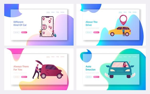 Conjunto de modelos de página de destino de carros de táxi on-line solicitando personagens