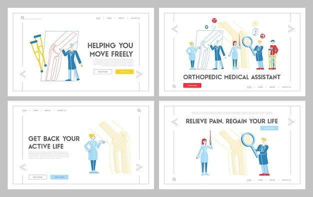 Conjunto de modelos de página de destino de consulta de saúde ortopédica
