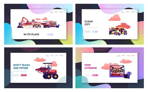 Conjunto de modelos de página de destino de despejo de carro.