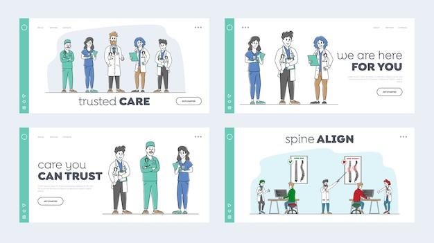 Conjunto de modelos de página de destino de diagnóstico de escoliose