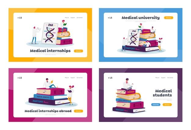Conjunto de modelos de página de destino de estagiários de medicina