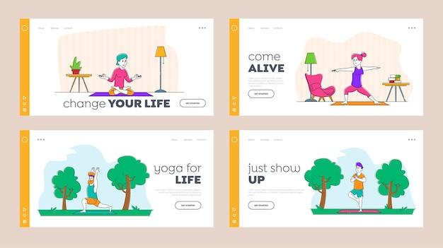 Conjunto de modelos de página de destino de exercícios de ioga com estilo de vida saudável