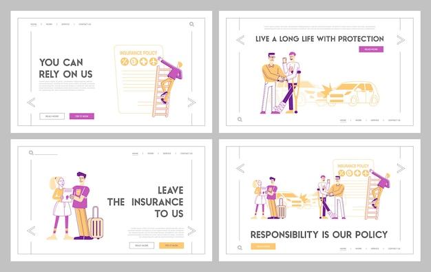 Conjunto de modelos de página de destino de garantia de segurança de vida e saúde