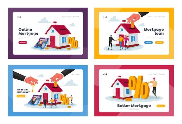 Conjunto de modelos de página de destino de hipoteca e compra de casa