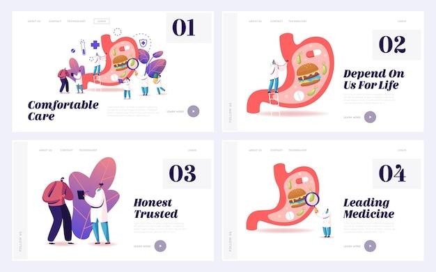 Conjunto de modelos de página de destino de medicina de gastroenterologia.
