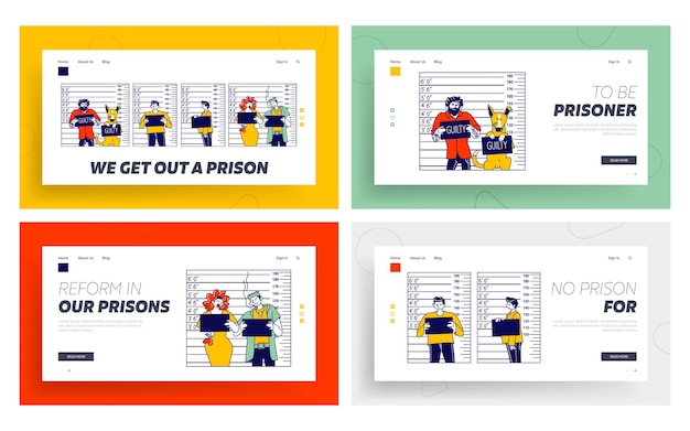 Conjunto de modelos de página de destino de mugshot criminoso de personagens.