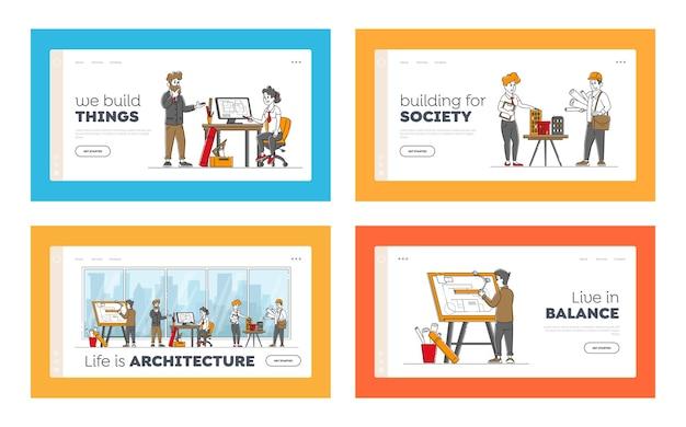 Conjunto de modelos de página de destino de ocupação de arquiteto e engenheiro