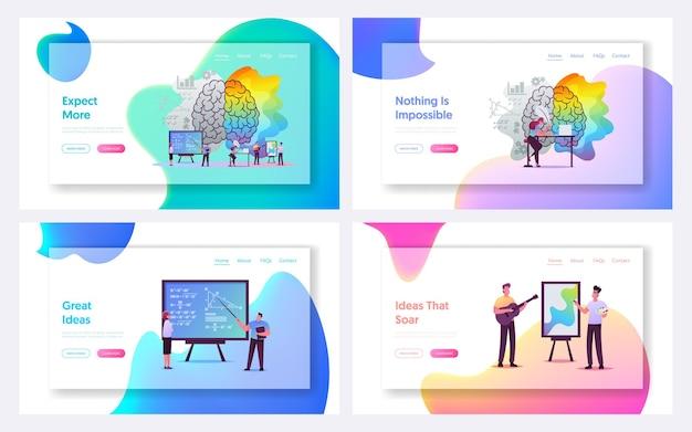 Conjunto de modelos de página de destino de pensamento criativo e lógico.