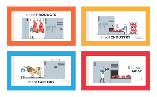 Conjunto de modelos de página de destino de produção de carne e personagens