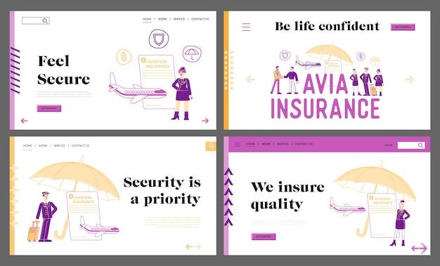 Conjunto de modelos de página de destino de seguro de aviação, proteção de vida e saúde