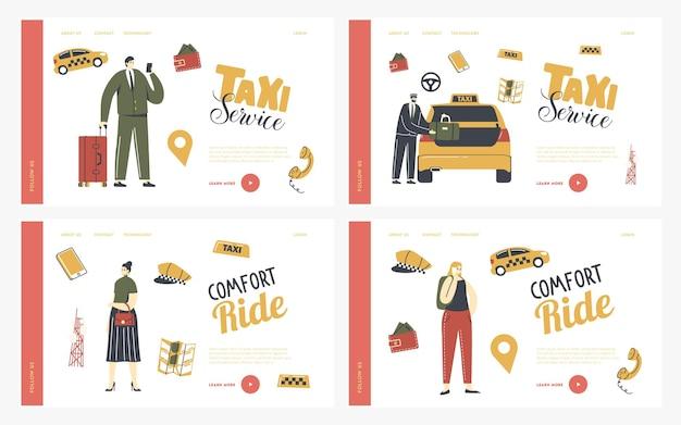 Conjunto de modelos de página de destino de serviço de táxi