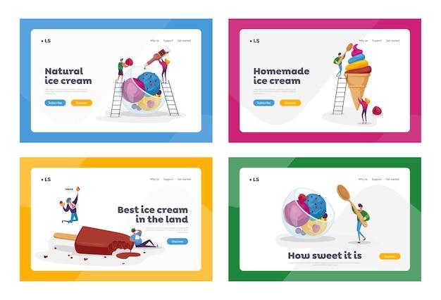 Conjunto de modelos de página de destino de sorvete