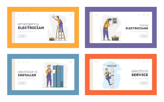 Conjunto de modelos de página de destino de trabalho de eletricistas