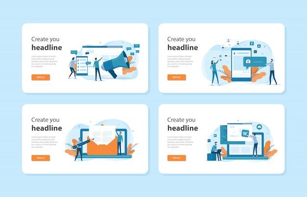 Conjunto de modelos de página de destino de web de design plano de conceito de marketing digital empresarial