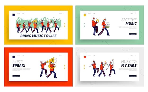 Conjunto de modelos de página de destino do desfile de março orquestral.