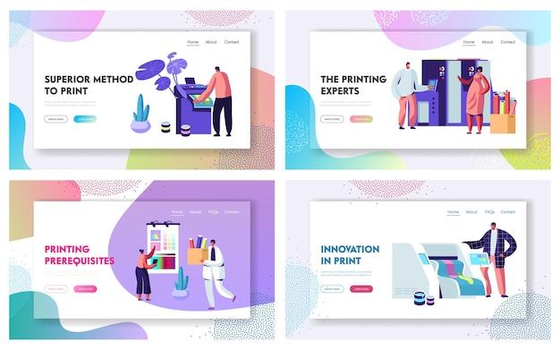 Conjunto de modelos de página de destino do site da agência de publicidade de impressão