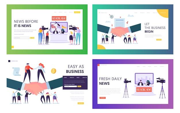 Conjunto de modelos de página de destino do site da transmissão de notícias e acordos comerciais