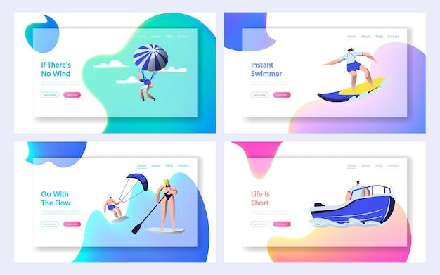 Conjunto de modelos de página de destino do site de atividades esportivas de verão.