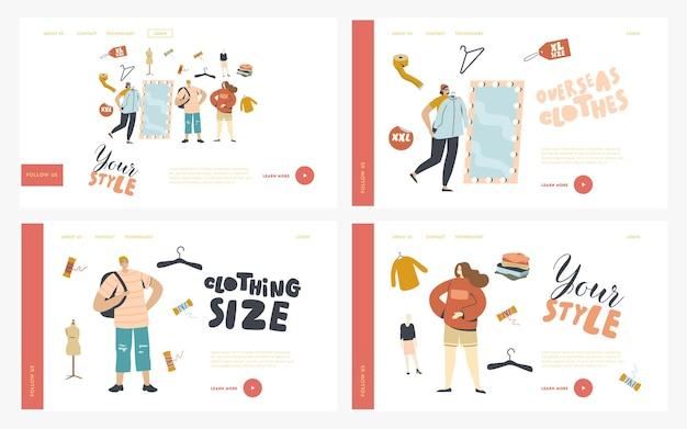 Conjunto de modelos de página de destino em compras, personagens compram roupas grandes