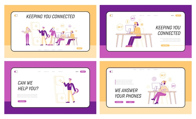 Conjunto de modelos de página de destino para equipe de atendimento ao cliente respondendo a perguntas profissionais