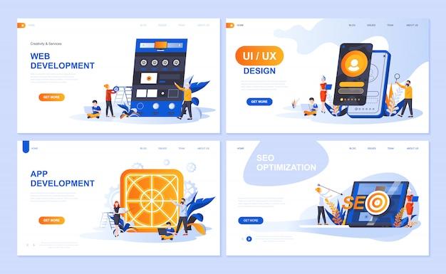Conjunto de modelos de página de destino para web e desenvolvimento de aplicativos, design de interface do usuário, otimização de seo