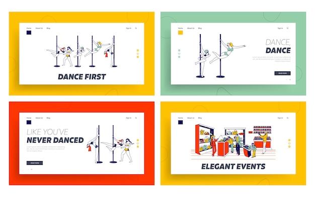 Conjunto de modelos de página inicial da exibição de pole dance e minerais.
