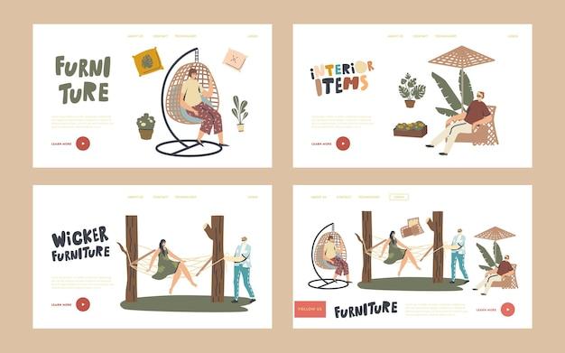 Conjunto de modelos de página inicial de decoração ao ar livre. personagens relaxam em móveis de vime ao ar livre. mulher sente-se na poltrona suspensa ou rede, cadeira de balanço, mesa e guarda-chuva. ilustração em vetor de pessoas lineares
