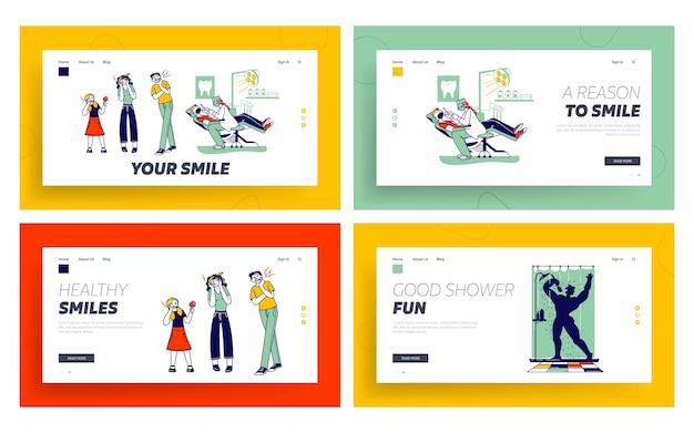 Conjunto de modelos de página inicial de dor de dente.
