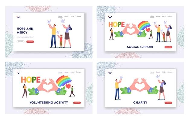 Conjunto de modelos de página inicial de esperança, amor e paz. pequenos personagens familiares soltam pombas brancas voando no ar, arco-íris e mãos enormes mostram o símbolo do coração. caridade, bondade. ilustração em vetor desenho animado