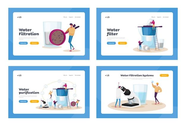 Conjunto de modelos de página inicial de filtragem de água Vetor Premium
