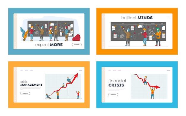 Conjunto de modelos de página inicial de gerenciamento de crises e quadro de tarefas. personagens masculinos e femininos.