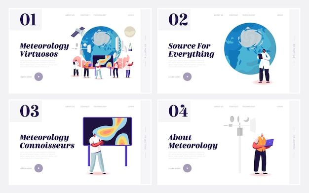 Conjunto de modelos de página inicial de meteorologia.