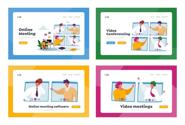Conjunto de modelos de página inicial de reunião online. conferência de webcam com colegas de trabalho em um computador enorme