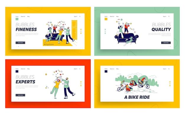 Conjunto de modelos de página inicial de tempo livre de família feliz. personagens, pais, cães e filhos soprando bolhas de sabão no isolamento de quarentena da covid19