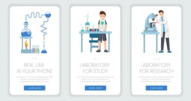 Conjunto de modelos de página móvel de laboratório de pesquisa