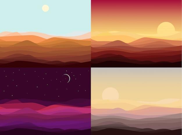 Conjunto de modelos de paisagem do deserto