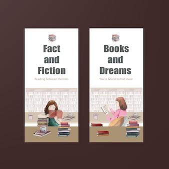Conjunto de modelos de panfleto do dia mundial do livro