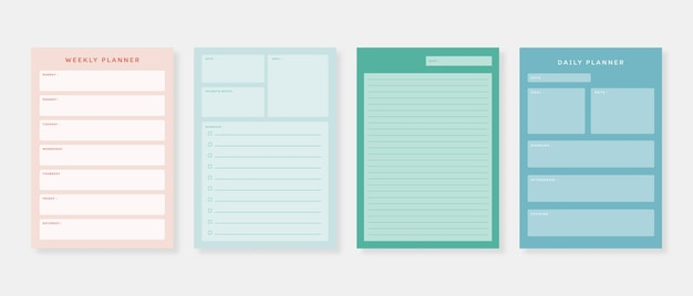 Conjunto de modelos de planejador. conjunto de planejador e lista de tarefas